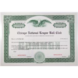Chicago National League Ball Club Specimen Stock Certificate