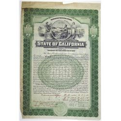 Veterans Welfare Bond, State of California 1927 Production Department Specimen bond.