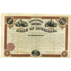 State of Louisiana 1871 I/U Coupon Bond Signed by Governor Henry Clay Warmoth.