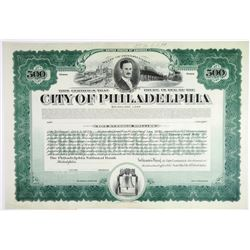 City of Philadelphia 1920 Proof Bond Including Funds for Constructing the Art Museum and Railroad St