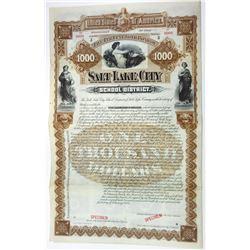 Salt Lake City School District, 1892 Specimen Bond.