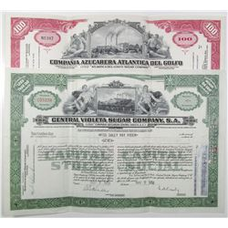 Cuban Sugar I/U Stock Certificate Pair, ca. 1958-1959