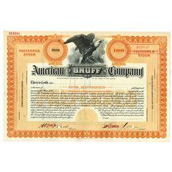 American Snuff Company 1900-1920 Specimen Stock Certificate.