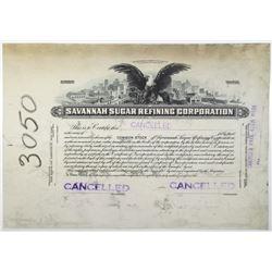 Savannah Sugar Refining Corp. Progress Proof Stock Certificate