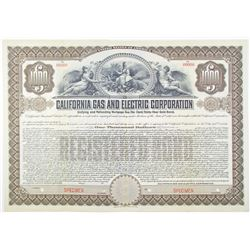 California Gas and Electric Corp. 1908 Specimen Bond