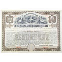 California Gas and Electric Corp. 1908 Specimen Bond