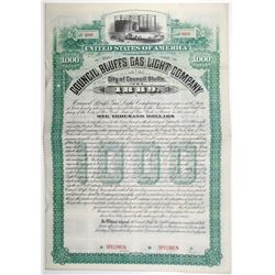 Council Bluffs Gas Light Co. 1889 Specimen Bond