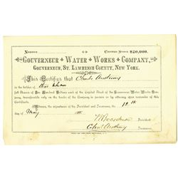 Gouverneur Water Works Co. 1888 I/U Stock Certificate