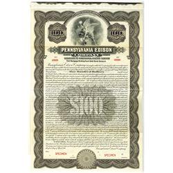 Pennsylvania Edison Co. 1916 Specimen Bond