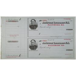 Assistant Treasurer of the U.S., U.S. Navy Paymasters Check, 1870s Uncut Check Pair by BEP.