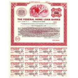 """Federal Home Loan Banks 1977 """"$10,000"""" Specimen Bearer Bond"""