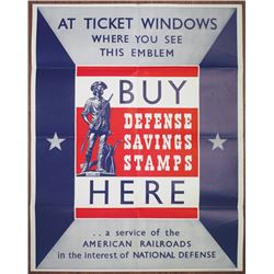 Buy Defense Savings Stamps, 1941 Original American WWII Poster