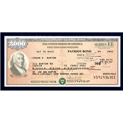 "U.S. Savings Bond, Series EE ""Patriot Bond"", 2002 Bond."