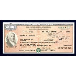 """U.S. Savings Bond, Series EE """"Patriot Bond"""", 2002 Bond."""