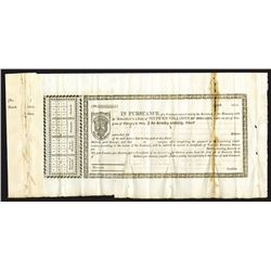 War of 1812 Capital Funded Stock Receipt Remainder, Receipt for Loan of 1813, Hessler X-71 with 1814