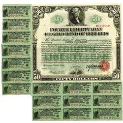 Fourth Liberty Loan, $50 4 1/4% Gold Bond of 1933-1938.