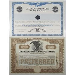 American Bank Note Co. & American Banknote Corp. Stock Certificate Pair, 1937-1995