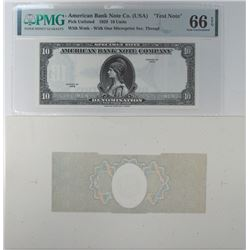 American Bank Note Co. (USA), 1929 Specimen Test Note & Proof Background