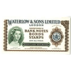 Waterlow & Sons Ltd. London, ND (ca.1940-50's) Proof Advertising Note