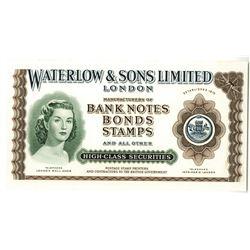 Waterlow & Sons Ltd. London, ND (ca.1940-50's) Proof Advertising Note