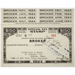 Special Tax Stamp - Broker, $100 Special Internal Revenue Tax 1923 Stamp