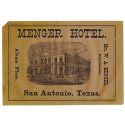 Menger Hotel, Alamo Plaza, ca.1870's Advertisement Card