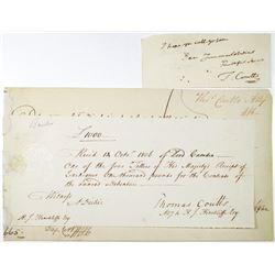 Thomas Coutts 1806 Receipt, Debenture & Ephemera Trio