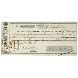 Rothschild Brothers 1843 Issued Third Exchange signed by August Belmont.