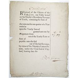 Tally-Court Parchment Issued Document Dated 1679.