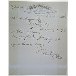 Wells, Fargo & Co. 1860 Letter with Wells Fargo Letterhead.