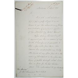Uruguay, 1836 Montevideo Letter from Consul General Thomas Samuel Hood Recounting Troubling Events t