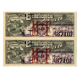 Original Little Beneficencia Publica Co. 1902 Uncut Lottery Ticket Pair