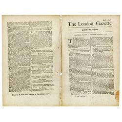 London Gazette, 1766 Newspaper with Colonial Response to the Repeal of the Stamp Act