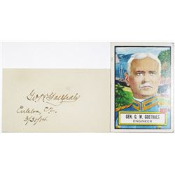 General George W. Goethals 1914 Signature from Panama Canal Zone & Trading Card