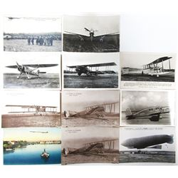 Military and Civilian Early Aviation Postcards, ca. 1910-1930s, About 1/2 Real Photo