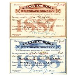 Western Union Telegraph Company, 1887 and 1888 Pair of Issued Business Message Frank.