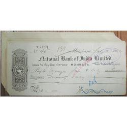 National Bank of India, Ltd. - Mombasa, 1902 Bank Check Assortment.