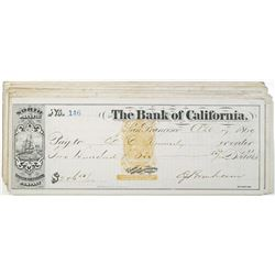 North Pacific Transportation Company - Bank of California, 1869-1870 I/C Check Group of 15 All with
