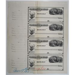 Bank of Ruby City, 1880 Unique Uncut Proof Sheet of 4 Checks.