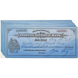 Peoples National Bank, 1883 Issued Check Group of 28