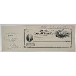 State Bank & Trust Co. of Richmond, 1879 Proof Check Used for 1939 Cancellation Impressions Proof.
