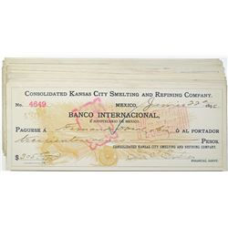 Consolidated Kansas City Smelting and Refining Co., 1896-1898  I/C Check Group of 26.