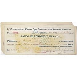 Consolidated Kansas City Smelting and Refining Co., 1898-1900  I/C Check Group of 11