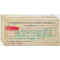 Consolidated Kansas City Smelting and Refining Co., CA.1897-1900 I/c Check Group of 15 With Mexican