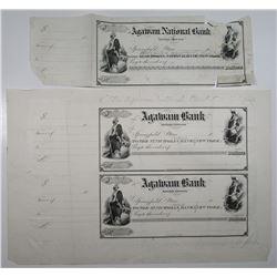 Agawam Bank, St. Nicholas National Bank of New York Proof Check Group, ca. 1880s