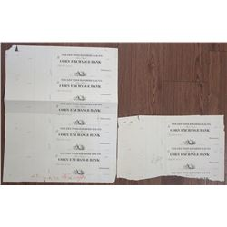Corn Exchange Bank, New York Elevated R.R. Co., Unique Approval Proof Check Group of 7.