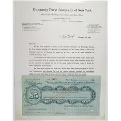Guaranty Trust Co. of New York, 19xx (1903) Specimen Travelers Cheque