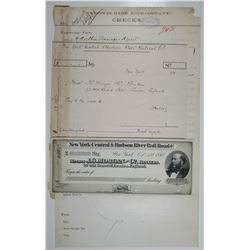 New York Central & Hudson River Rail Road Co., 1881 Specimen Check with Order Form and Original Mode