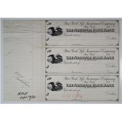 New York Life Insurance Co., National Park Bank of New York, 1884 Unique Approval Proof Sheet of 5 C