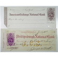 New York and New Jersey 1860's Purple Imprinted Revenues RN-B11 Pair